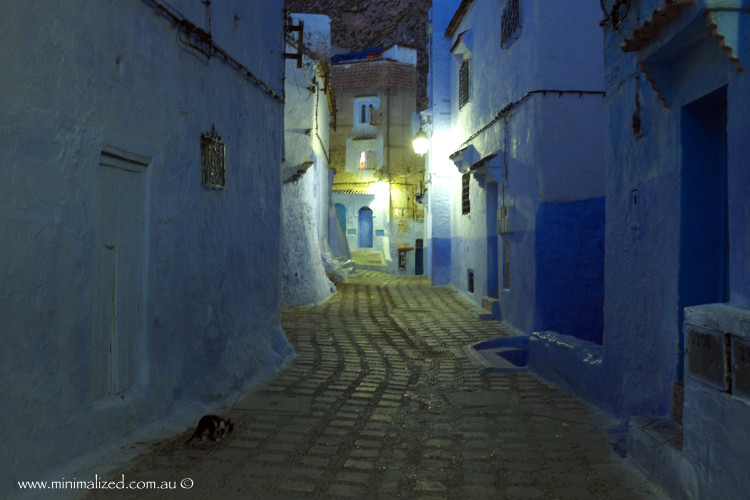 The night streets in Chefchaouen