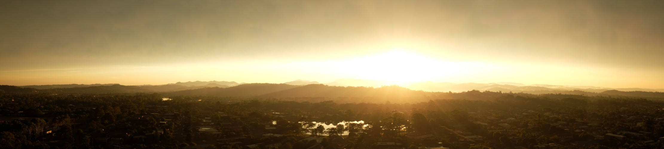 Amazing sunset over the Gold Coast hinterland