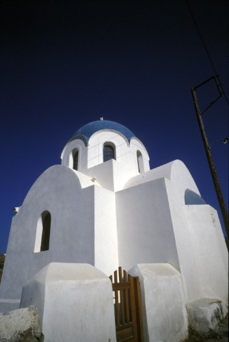 Traditional church on Ios Island in Greece